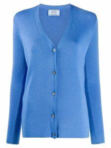 Prada ribbed V-neck cardigan - Blue