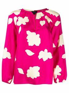 Theory petal print silk blouse - PINK
