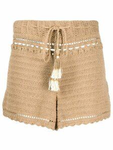 She Made Me high-rise crochet shorts - NEUTRALS