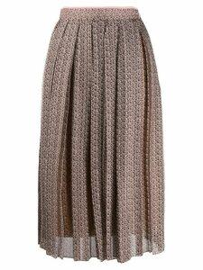 Fendi Floating Petals print pleated skirt - Brown