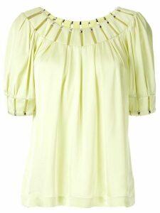 Reinaldo Lourenço cut out pleated blouse - Green