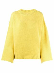 Fine Edge fluted sleeve fine knit jumper - Yellow