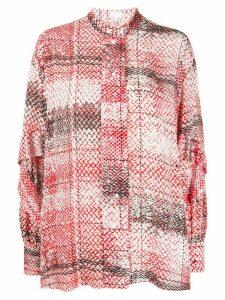 Lala Berlin contrast pattern ruffle sleeve blouse - Red