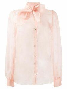Dolce & Gabbana sheer pussy-bow shirt - PINK