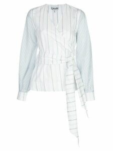 GANNI striped wrap shirt - White