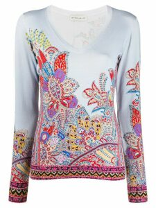 Etro floral embroidered T-shirt - Blue