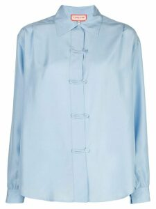 FUNG LAN AND CO. straight-fit silk shirt - Blue