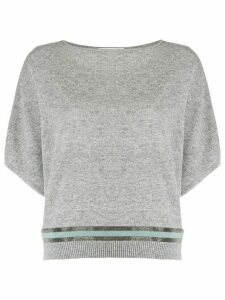 Fabiana Filippi double studded stripe jumper - Grey