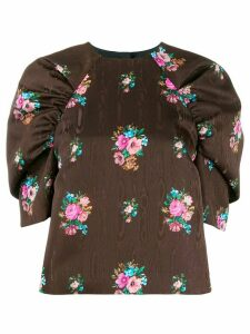 MSGM floral print puffed sleeves top - Brown