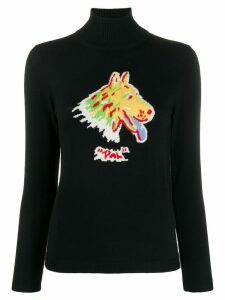 Shrimps printed intarsia knit jumper - Black