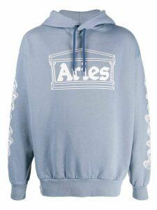 Aries long sleeve logo hoodie - Blue