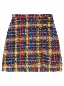 Gucci horseshoe buckles tweed skirt - Blue