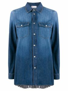 RedValentino pleated back denim shirt - Blue
