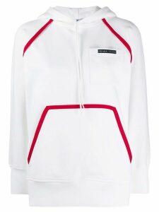 Prada logo trim hoodie - White