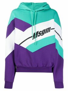 MSGM colour-block hooded sweatshirt - PURPLE