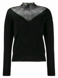 Red Valentino lace panel V-neck jumper - Black