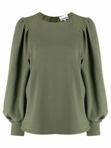 GANNI Juliet-sleeve blouse - Green