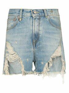 R13 shredded slouch denim shorts - Blue