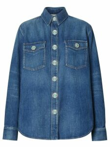 Burberry logo appliqué denim shirt - Blue