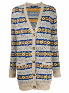 Polo Ralph Lauren embroidered long-sleeve cardigan - NEUTRALS