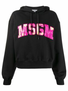 MSGM embroidered logo hoodie - Black