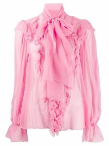 Dolce & Gabbana ruffle pussy-bow blouse - PINK