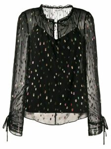 DVF Diane von Furstenberg Lilian metallic dot sheer blouse - Black