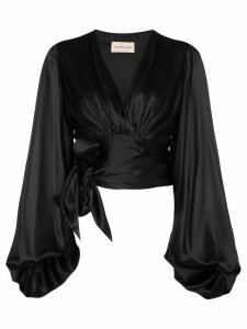 Alexandre Vauthier balloon-sleeve tie-side blouse - Black