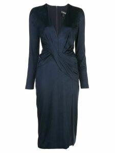 Cushnie deep v-neck long sleeved dress - Blue