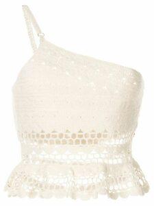 Suboo Stella one shoulder crochet top - White
