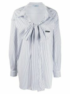 Prada oversized bow pin-striped blouse - Blue