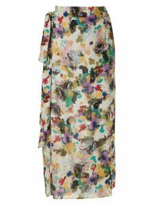 Andrea Marques printed tie waist skirt - Multicolour
