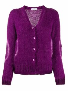 SO ALLURE contrasting circle knitted cardigan - PURPLE