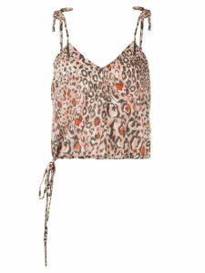 Suboo Uma leopard print drawstring top - PINK