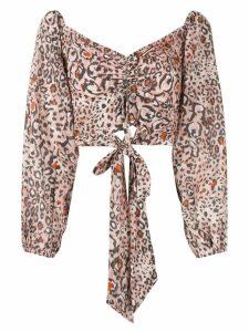 Suboo Uma leopard print backless tie top - PINK