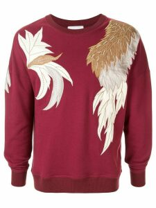 Ports V feather print sweatshirt - Red