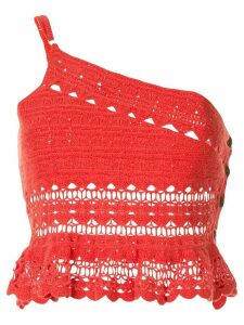 Suboo Stella one shoulder crochet top - Red