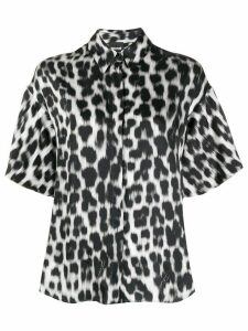 Just Cavalli oversized leopard-print satin shirt - Black