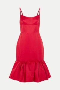 Prada - Wool And Silk-blend Satin Peplum Dress - Red