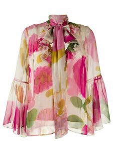 La Doublej floral pussy-bow blouse - PINK