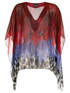 Just Cavalli animal-print chiffon top - Red