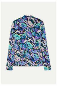 Emilio Pucci - Printed Silk-blend Satin Blouse - Turquoise