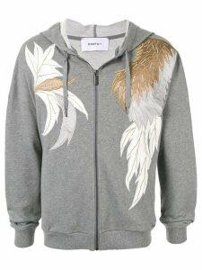 Ports V appliqué embroidered melange hoodie - Grey