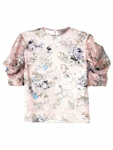 Preen By Thornton Bregazzi floral print ruffle sleeve blouse - PINK