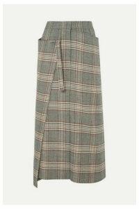 Joseph - Beck Checked Wool Midi Skirt - Gray