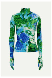 Richard Quinn - Floral-print Velvet Turtleneck Top - Azure