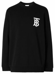 Burberry monogram motif crew neck sweatshirt - Black