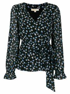 Michael Michael Kors wrap front floral print blouse - Blue