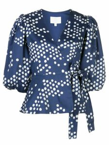 Rebecca De Ravenel polka dot puff-sleeves wrap top - Blue