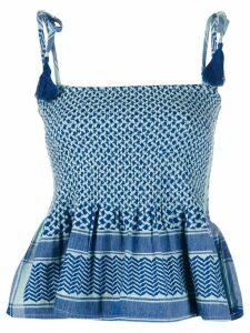 Cecilie Copenhagen Tonje multi-pattern tie strap top - Blue